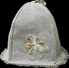 Женский головной убор из уникальных материалов – натурального льна и прополисованного положка – для защиты от перегрева и укрепления иммунитета во время посещения сауны или парной.