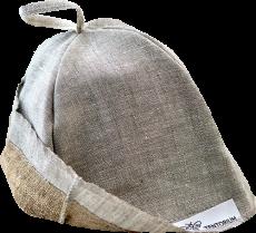 Мужской головной убор из уникальных материалов – натурального льна и прополисованного положка – для защиты от перегрева и укрепления иммунитета во время посещения сауны или парной