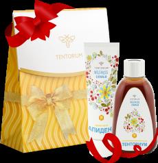 Продукция в наборе комфортно и эффективно  ухаживает за полостью рта, поможет избавиться от налета, предупредит кариес и обеспечит свежее дыхание. Приятным дополнением будет Праздничный пакет, который получите в Подарок.